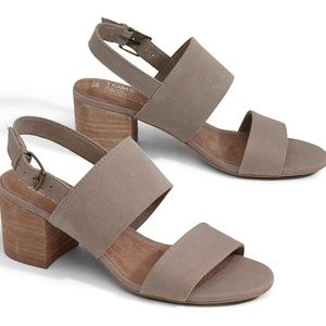 NWT TOMS Poppy Desert Taupe Suede/Oxford Sandal